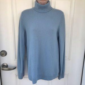 Talbots blue 100% cashmere turtleneck sweater